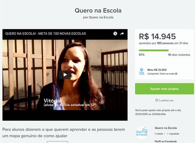 Imagem da campanha de crowdfunding que está no ar (Foto: Reprodução)