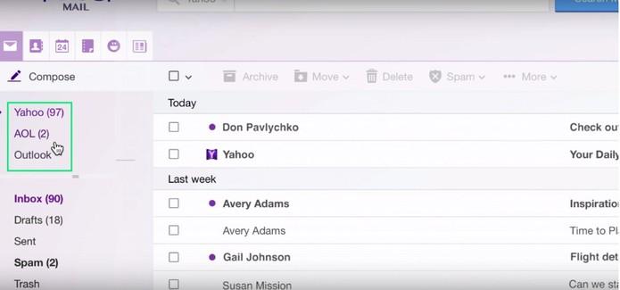 Contas ficam disponíveis na mesma interface no Yahoo Mail desktop e celular (Foto: Divulgação/Yahoo)