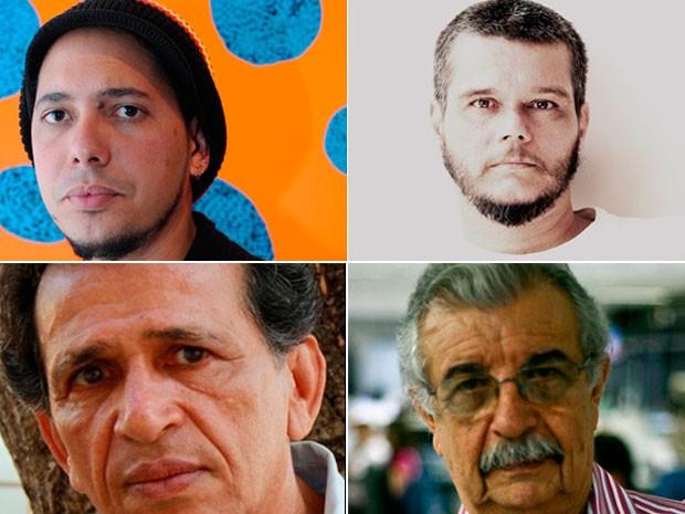 Ondjaki, Dênisson Padilha Filho, Roberval Pereyr e Florisvaldo Mattos participam da Flica (Foto: Montagem/G1)