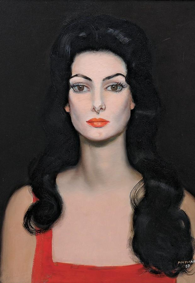 Retrato de Carmem Mayrink Veiga por Cândido Portinari. O destaque é a cor usada pelo artista (Foto: Divulgação)