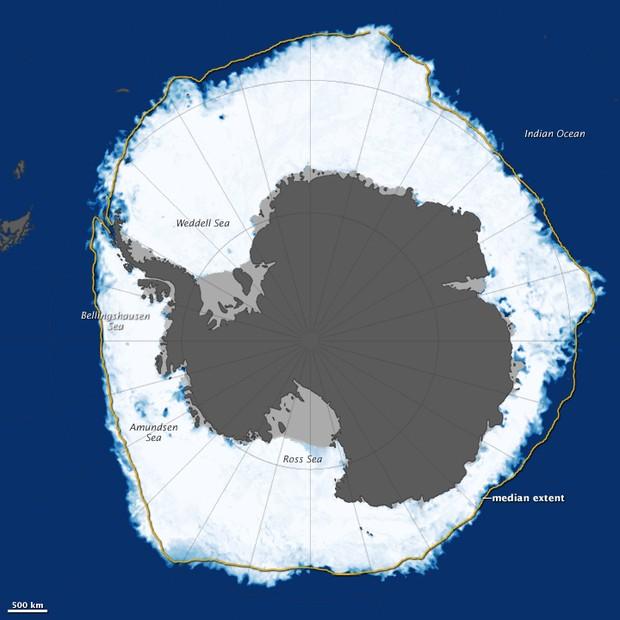Extensão recorde de gelo no inverno na Antártica (Foto: Nasa/Divulgação)