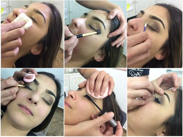 Em Poços de Caldas (MG), maquiadora ensina passo a passo de make de Ano Novo (Foto: Lúcia Ribeiro/G1)