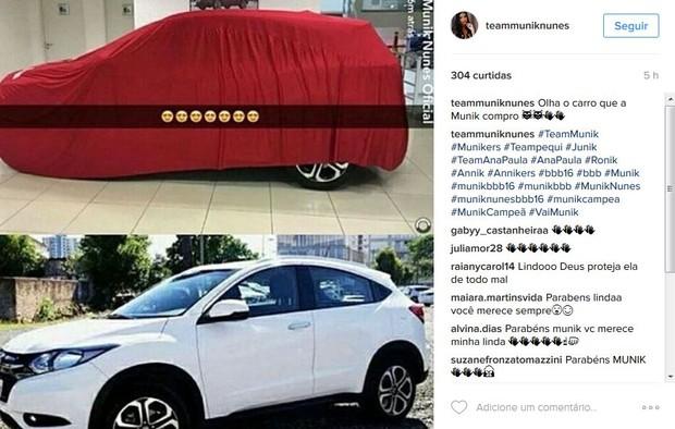 Fãs comentam sobre novo carrão da ex-BBB Munik (Foto: Reprodução/Instagram)