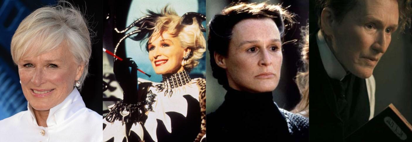 A Cruella de Vil em '101 Dálmatas' (1996) se deformou para fazer Ferula, a irmã mal-amada pelo protagonista de 'A Casa dos Espíritos' (1993). E, mais recentemente, foi indicada ao Oscar de Melhor Atriz pelo seu papel como um homem em 'Albert Nobbs' (2011). Close perdeu 5 kg e usou próteses no rosto. (Foto: Getty Images/Reprodução)