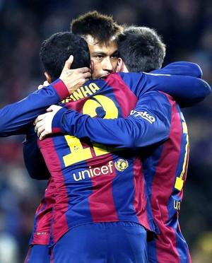Neymar comemora gol do Barcelona contra o Villareal (Foto: Agência EFE)