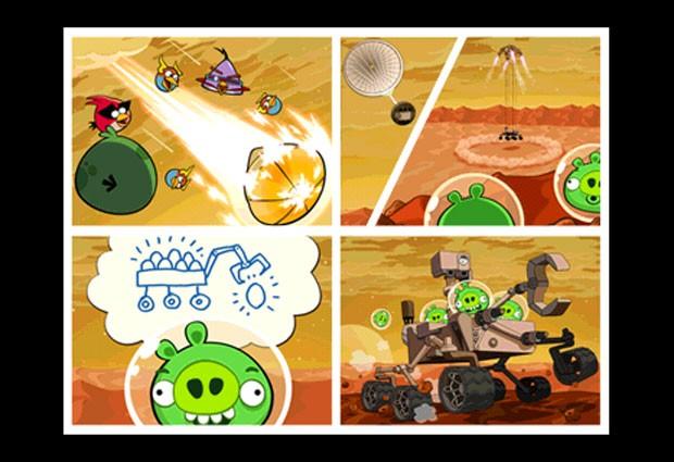 História na abertura de 'Angry Birds Space' mostra a chegada do Curiosity e o aparelho sendo roubado pelos porcos verdes (Foto: Reprodução)