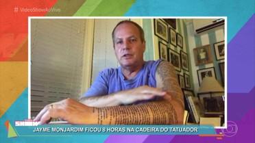 Jayme Monjardim tatua gênesis no braço