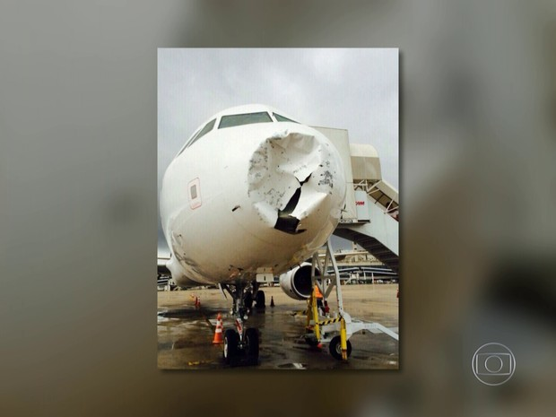Avião sofreu danos após tempestade de granizo (Foto: Mariucha Machado/G1)