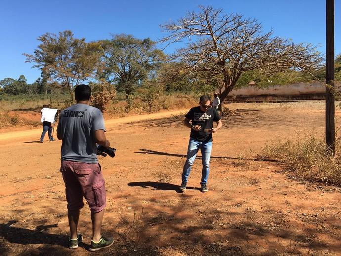 Mário se preparando para as gravações (Foto: Divulgação)