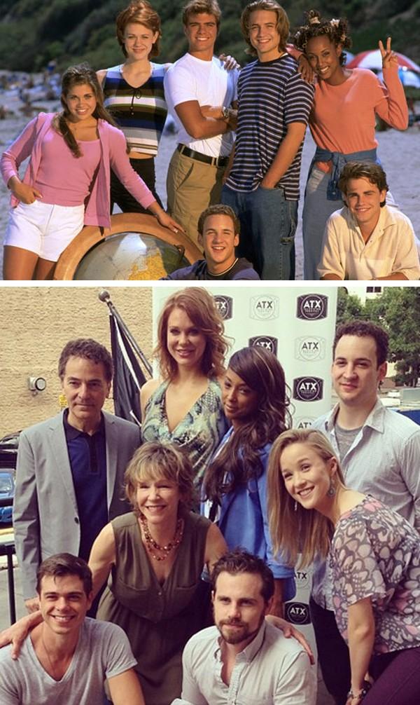 O elenco de 'O Mundo é dos Jovens' nos anos 90 e hoje (Foto: Reprodução / Twitter)