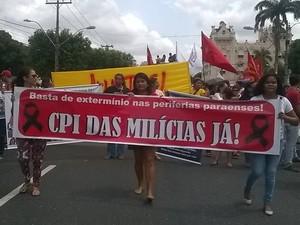 """Organizações sociais e de direitos humanos cobram """"CPI das milícias"""" em Belém. (Foto: Luana Laboissiere/ G1)"""