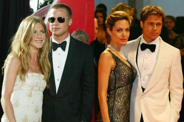 Jennifer Aniston e Angelina Jolie com o ex, Brad Pitt (Foto: Getty Images)