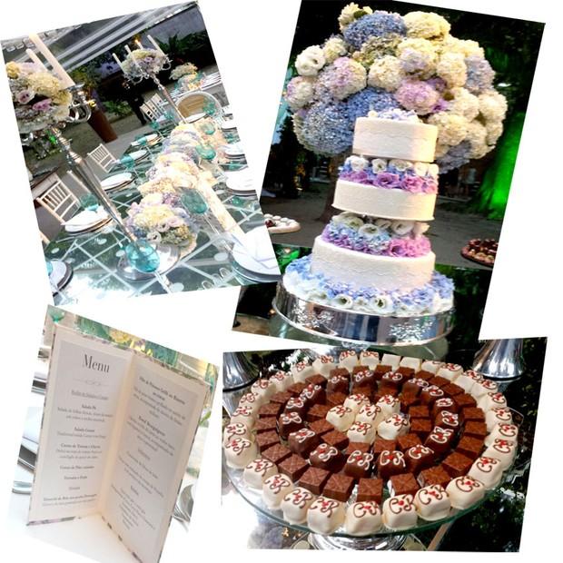 Casamento Carol e Raphael - a decoração, o bolo, o cardápio, feito pelo Paris 6, e os docinhos com as iniciais do casal (Foto: Acyr Mera Júnior)