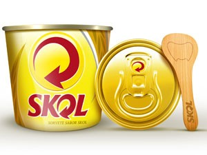 Sorvete Skol será oferecido na versão em massa, em pote de 150 ml  (Foto: Divulgação)