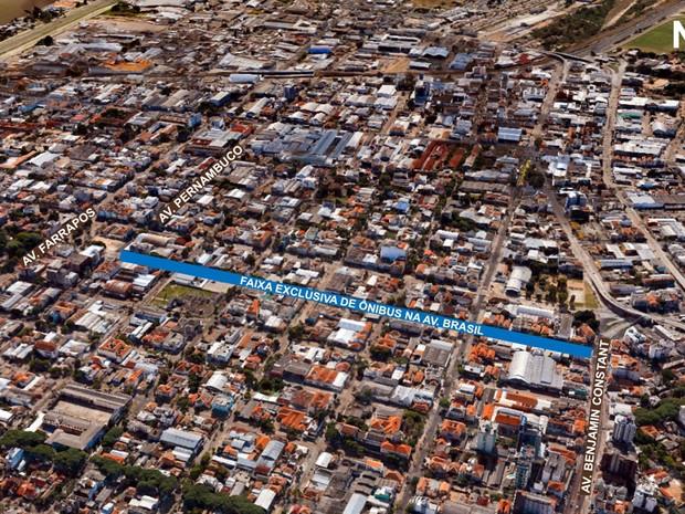 Faixa exclusiva de ônibus será instalada na Avenida Brasil (Foto: Divulgação/PMPA)