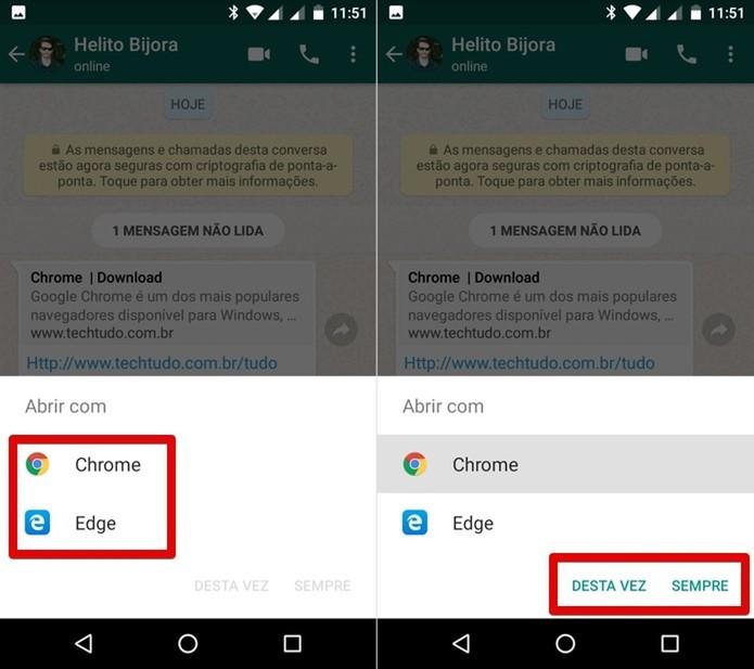 Usuário pode escolher qual app usar para executar uma ação (Foto: Reprodução/Helito Bijora)