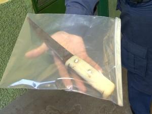 Faca usada por mecânica para agredir a ex (Foto: Reprodução/ TV Gazeta)