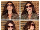 Giovanna Antonelli faz caras e bocas para divulgar sua linha de óculos