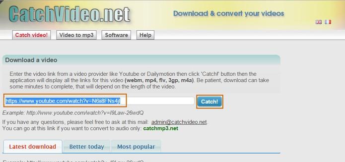 Cole a URL do vídeo no local indicado e conclua no botão Catch (Foto: Reprodução/Barbara Mannara)