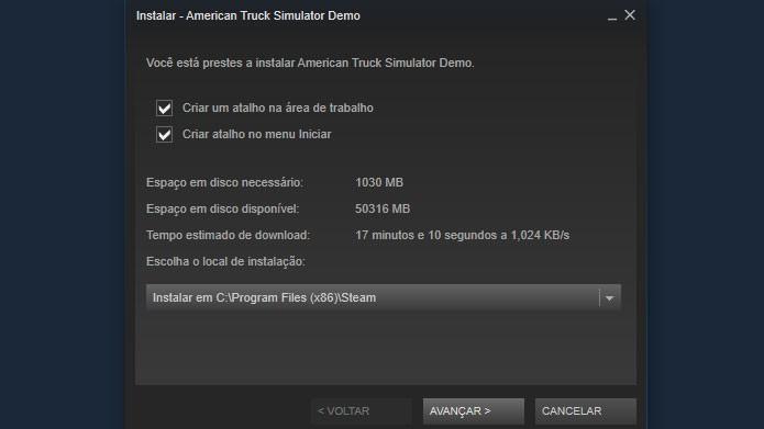 Siga as instruções e clique em Avançar na tela do Steam para baixar e instalar no jogo (Foto: Reprodução/Tais Carvalho)