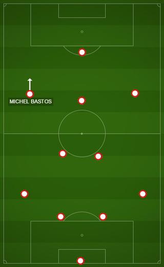 Posicionamento antigo de Michel Bastos, como ponta esquerda no 4-2-3-1 de Edgardo Bauza  (Foto: GloboEsporte.com)