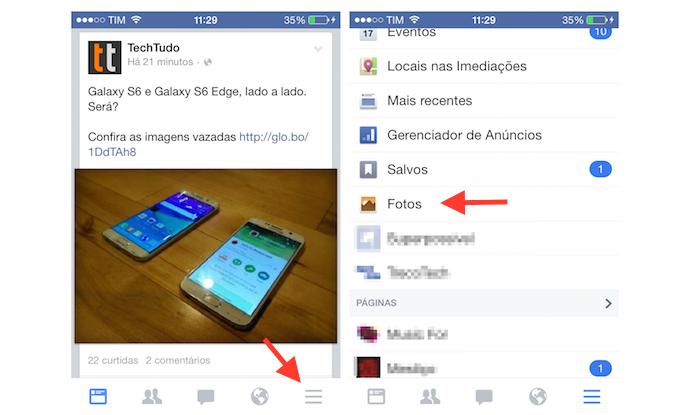 Acessando as fotos de um perfil do Facebook pelo iPhone (Foto: Reprodução/Marvin Costa)