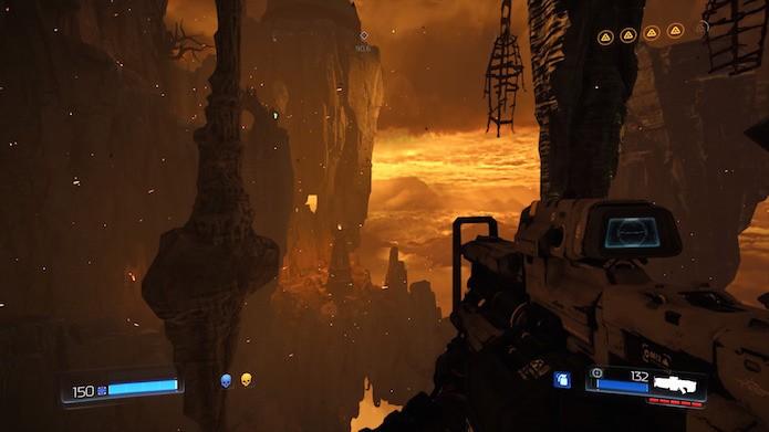Doom: cenários abertos são repletos de segredos e colecionáveis (Foto: Reprodução/Victor Teixeira)