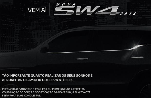 Site da nova Toyota SW4 (Foto: Reprodução)