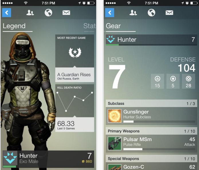 Destiny ganhou hoje um aplicativo companion que traz diversas estatísticas do jogador. (Foto: Reprodução/iTunes)