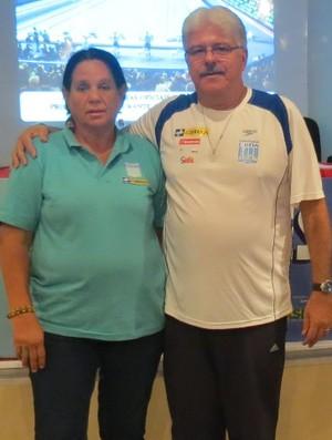 Presidente da Fedar, Gilda Hupsel e o árbitro internacional Marcelo Falcão.JPG (Foto: Divulgação)