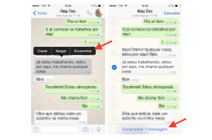 Iniciando o encaminhamento de uma mensagem do WhatsApp para o Dropbox (Foto: Reprodução/Marvin Costa)