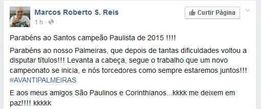 Marcos parabeniza Santos pelo título paulista (Foto: Reprodução / Facebook)