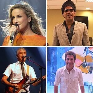 Claudia Leitte, Carlinhos Brown, Lulu Santos e Daniel: time de técnicos do programa 'The Voice Brasil' (Foto: Divulgação e G1)