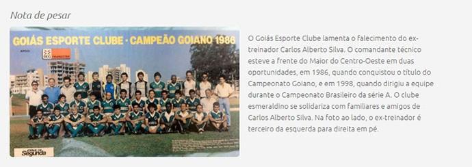 Homenagem do Goiás para Carlos Alberto Silva (Foto: Site do Goiás)