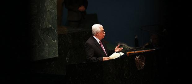 O presidente palestino, Mahmoud Abbas, fala nesta quinta-feira (29) na Assembleia Geral da ONU (Foto: AFP)