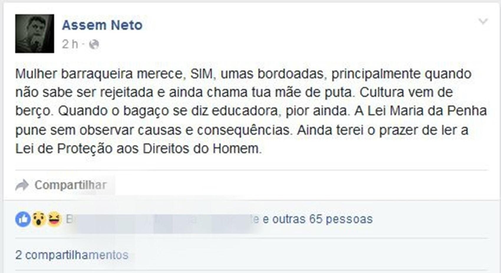 """No Facebook, jornalista defendeu agressões contra mulheres """"barraqueiras"""" (Foto: Reprodução/Facebook)"""