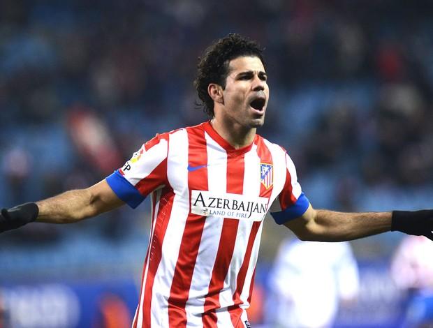 Diego Costa comemora gol do Atlético de Madrid contra o deportivo la coruna (Foto: Agência AFP)