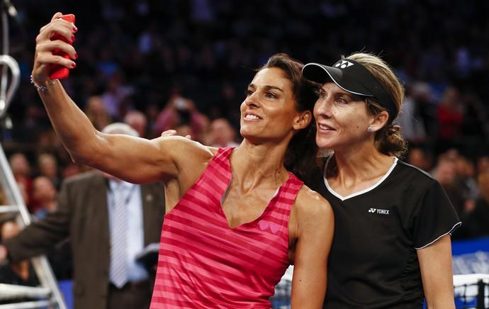 tenis Gabriela Sabatini x monica seles jogo exibição nova york (Foto: AFP)