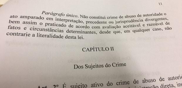 Trecho do relatório do senador Roberto Requião sobre abusop de autoridade