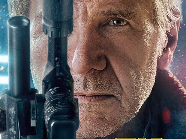 Han Solo (Harrison Ford) empunha sua pistola no pôsters de 'Star Wars: o despertar da Força' (Foto: Divulgação)