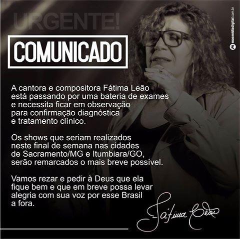 Comunicado de Fátima Leão (Foto: Reprodução/Facebook)