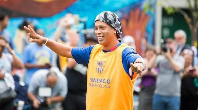 Ronaldinho durante evento do Barcelona em NY (Foto: FC Barcelona)