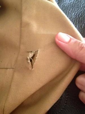 Bolsa ficou marcada com furos (Foto: Renata Moret/Arquivo pessoal)
