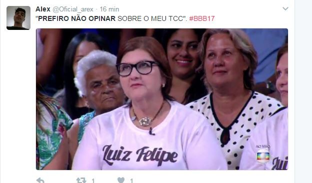 Mãe de Luiz Felipe rende memes na web (Foto: Reprodução/Twitter)