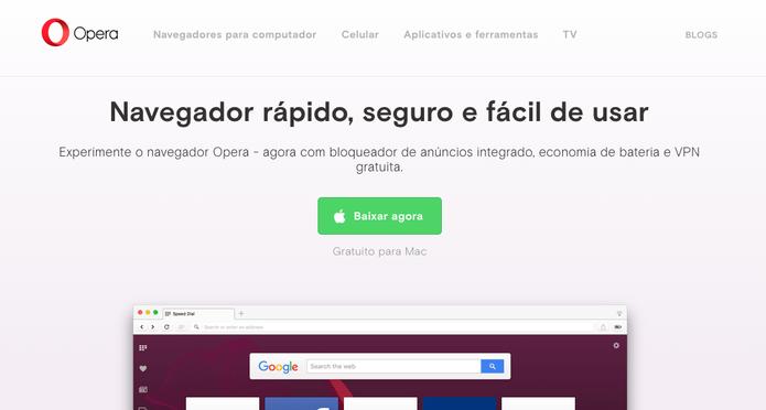 Opera é outro navegador que aposta em VPN (Foto: Reprodução/Felipe Vinha)