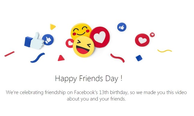 Facebook celebra 'Dia do Amigo' com vídeo interativo