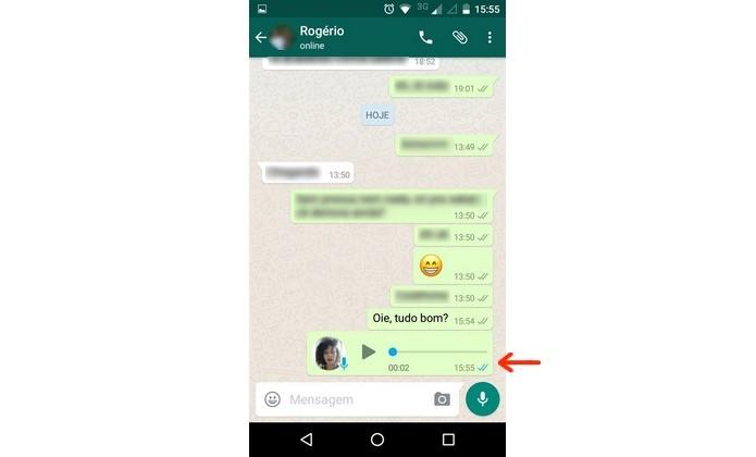 Áudio do WhatsApp com check azul (Foto: Reprodução/Raquel Freire)