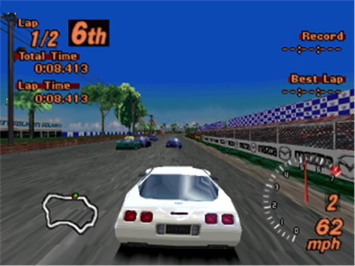 Em Gran Turismo 2, os gráficos ficaram mais definidos, especialmente nos carros (Foto: Reprodução/GameDBase)