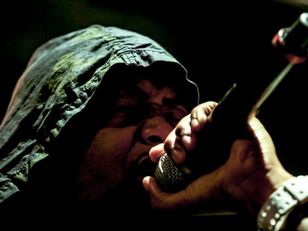 O rapper americano Nas em show no palco Perry (Foto: Raul Zito/G1)