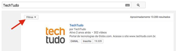 Acessando os filtros de pesquisa do YouTube (Foto: Reprodução/Marvin Costa)